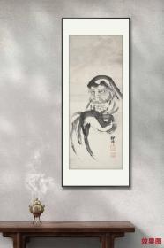 回流字画 回流书画 禅宗-《达摩像》 作者:新谷铁仙(1867-1954)日本画家,本名慶蔵,师从木村耕巌。山水・花鳥・走兽皆能绘之,其达摩最为得意。1927年曾前往中国大陆与中国台湾、朝鮮。名;日本回流字画 日本回流书画