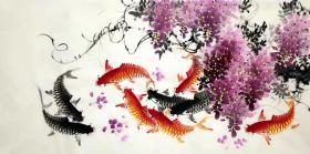 四尺紫藤鱼 横幅  韦善艺老师的作品 紫气东来