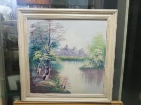 60年代手绘风景老油画