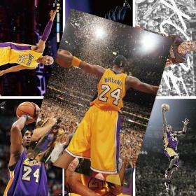 """科比海报 黑曼巴""""小飞侠""""宿舍墙贴篮球明星(随机发8张) NBA篮球海报 房间超大海报42*29"""