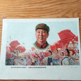 在华主席为首的党中央领导下,沿着毛主席的革命路线胜利前进,精品,单页,9:18号上