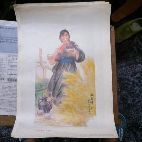 人民美术出版社出版1974年一版一印杨孝丽 朱理存作《叔叔喝水(中国画)》宣传画 尺寸53*38cm