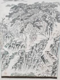 【山林风景画】圆山溟北(1818-1892),年代保到清。整幅尺寸:长192cm*65cm;画心尺寸:长132.5cm*52.5cm