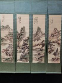精品四条屏画,山水画    裱好尺寸高x宽:177cmx39cm  画心尺寸高x宽:117cmx30cm