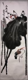 《一路连升》,黄忠耿(1945-)广东揭阳人,著名艺术家黄独峰之子。历任广西艺术学院成人教育学院副院长,广西艺术学院教授,新华社广西分社画院常务副院长、广西科技书画院副院长,中国美术家协会会员 。97×37