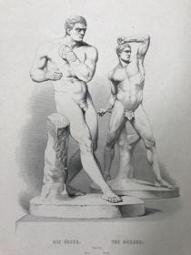 《拳击手》—意大利新古典主义雕塑家安东尼奥·卡诺瓦(Antonio Canova,1757-1822年)作品 19世纪点刻钢版画 纸张尺寸32.2*24.5厘米