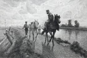 【协会礼物版】1895年蚀刻铜版画《拉船的马》—德国画家Franz Hochmann(1861-1935年)作品 雕刻师Robert Petzsch 纸张尺寸47.5*36.6厘米