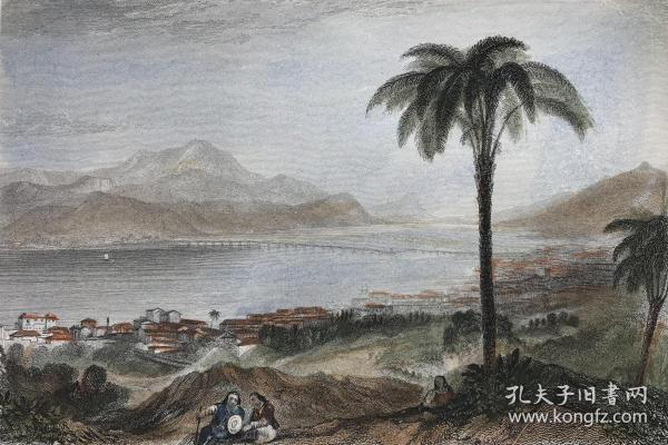 【透纳作品】19世纪手工上色钢版画《凯法利尼亚岛》—英国绘画天才威廉·透纳(Joseph Mallord William Turner, 1775-1851年)作品 雕刻师E. Finden 卡纸画框尺寸30*24厘米