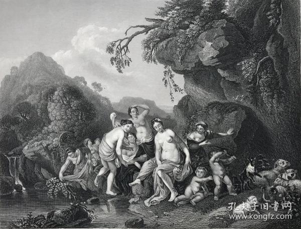 19世纪钢版画《仙女》—雕刻师Alboth 纸张尺寸27.4*21厘米
