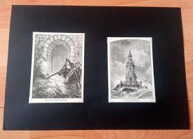 """19世纪木刻版画《世界著名灯塔系列:法国科尔杜昂灯塔(有""""灯塔之王""""美誉)》(Tower of Cordouan)-- 科尔杜昂灯塔位于法国大西洋中吉伦特河口的一块礁石平台上;灯塔于16和17世纪之交以白色石灰石砌成,由工程师德福瓦设计;在18世纪末工程师特莱尔主持了改造工作;灯塔塔身饰有壁柱、立柱托饰和滴水嘴,是海事通信的杰作 -- 后附卡纸30*21厘米,版画纸张12*8.5、11*7.5厘米"""
