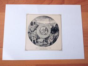 19世纪木刻版画《文艺复兴艺术精品:阿波罗和马西亚斯》(Apollon und Marsyas)-- 出自意大利威尼斯科雷尔博物馆(Museo Correr)馆藏文物:中世纪的掐丝珐琅彩画 -- 画面表现太阳神阿波罗与森林之神马西亚斯比赛演奏乐器的场景 -- 后附卡纸30*21厘米,版画纸张14*13.5厘米