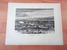 1882年木刻版画《风景画:瓦萨奇山脉下摩门教总部--盐湖城,犹他州》(Der westliche Theil der Salzseetadt)-- 1847年美国西进运动中,杨百翰(Brigham Young)率领信徒们进入盐湖山谷之后,选定在这里的城溪峡谷建立摩门教总部,并传承至今;画中描绘的是摩门教圣殿广场与摩门教大礼拜堂附近风光 -- 选自《风景如画的美国》-- 版画纸张33.5*26厘米