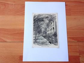 """1882年木刻版画《芝加哥""""华丽一英里""""》(Michigan-Avenue in Chicago)-- 芝加哥最繁华的大道是北密歇根大道(North Michigan Avenue),这条大道靠北的一英里路,被称为是华丽一英里,它北端连接密歇根湖的黄金海岸,南端则到跨越芝加哥河的密歇根大街桥 -- 选自《风景如画的美国》 -- 后附卡纸30*21厘米,版画纸张17*13.5厘米"""