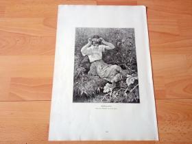 1884年大幅木刻版画《春的魔力》(Fruhlingszauber)-- 出自19世纪德国画家,雷昂·保勒(Friedrich Leon Pohle,1841-1908)的油画作品 -- 版画纸张41.5*27厘米