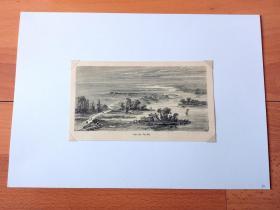 """1882年木刻版画《清代海河山水图》(Ufer des Pei-Ho)-- 图中描绘的是天津海河入海口附近(今属天津滨海新区)的日出景象 -- 依据清代水墨画制作,取材清代乾隆五年(1740),时任天津知县张志奇所作《津门八景》之《溟波浴日》:""""渤海之滨,万里鲸波,海口观日"""" -- 后附卡纸30*21厘米,版画纸张17*10厘米"""
