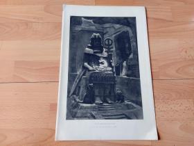 1892年铜凹版腐蚀《太阳神的未婚妻》(BAAL AND HIS FIANCEE)-- 出自19法国画家,Henri Paul Motte(1846–1922)的绘画作品 -- 巴尔(Baal)是腓尼基神话中的太阳神,意为天上的主人;这位神祇的历史可以追溯到西元前一千四百多年前的闪族,是闪的子嗣,在闪族中算是最高阶的神 -- 选自《特洛伊战争》-- 版画纸张42*28厘米