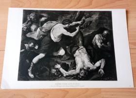 1892年铜凹版腐蚀《阿波罗活剥玛西亚斯的皮》(MARSYAS FLAYED ALIVE APOLLO)-- 出自西班牙画家,Jusepe de Ribera(1591-1652)油画,藏于德累斯顿历代大师画廊 -- 马西亚斯是希腊神话中半人半兽神的森林之神,他向阿波罗挑战比试吹笛,最终落败,按照约定阿波罗立刻把这寻衅者剥皮剁死-- 选自《特洛伊战争》-- 维也纳艺术画廊出版--版画42*28厘米