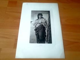 1884年照相凹版版画《美狄亚的复仇》(Medea)-- 出自德国画家,纳撒尼尔·西切尔(Nathaniel Sichel,1843-1907)油画 -- 美狄亚是希腊神话中著名的女巫,科尔基斯的公主;爱上了来到岛上寻找金羊毛的伊阿宋王子并对他一见钟情,不料对方后来移情别恋,美狄亚天性中的坚毅刚强让其无法不做出复仇的举动,使美狄亚最后只能亲手了结自己亲生的两个孩子 -- 版画纸张43*30厘米