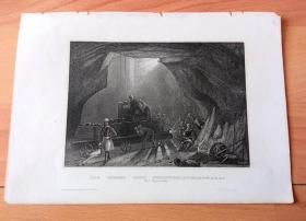 """19世纪钢版画《""""煤都""""纽卡斯尔的赫本煤矿,英格兰》(STEINKOHLENBERGWERKS bei Newcastle)-- 工业革命发源于18世纪英国,煤炭产业在当时享有重要地位,纽卡斯尔也因此扬名天下;赫本煤矿(Hebburn Colliery)是纽卡斯尔最古老、最大的煤矿之一,""""火车之父""""乔治·史蒂芬森(1781-1848)少年时就曾在这座家乡的煤矿做过矿工 -- 版画纸张22*16厘米"""