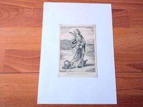 19世纪木刻版画《文艺复兴早期名画:屠龙少女,圣玛格丽特》(Heilige Margaretha)-- 出自文艺复兴意大利画家、拉斐尔的启蒙老师,蒂莫泰奥·维蒂(Timoteo Viti,1469-1523)的油画 -- 圣玛格丽特是公元三世纪的一位少女,玛格丽特在恶龙的肚子里祈祷,用XX把恶龙的肚子划破,完好无损地逃了出来 -- 后附卡纸30*21厘米,版画纸张15.5*11厘米