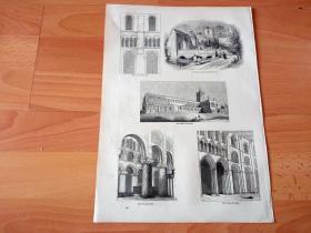 1845年木刻版画《英国中世纪宗教建筑艺术:圣奥尔班斯大教堂》(St Albans)-- 小城圣奥尔班斯是英国历史最悠久的城市之一,曾是罗马统治英国期间第二大城市维鲁拉米恩(Verulamium)所在地,后为纪念罗马士兵圣奥尔本斯(St Albans)而以其改名,圣奥尔班斯大教堂就是罗马统治时期最著名的遗迹 -- 选自《老英格兰160》-- 版画纸张36*25厘米