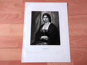 1881年铜版蚀刻《维斯塔贞女》(ROMERIN(Portraitstudie))-- 出自德国著名的古典主义画家,安塞姆·弗雷德里克·费尔巴哈(Anselm Friedrich Feuerbach ,1829–1880)的油画作品 -- 雕刻师:Wilhelm Krauskopf(1847-?) -- 奥地利维也纳艺术画廊出版发行 -- 版画纸张39*29.5厘米