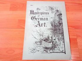 1884年大幅木刻版画《精美扉页设计:人体与艺术的完美结合,缪斯女神与小天使》(The Masterpieces of German Art)-- 法国《艺术期刊》扉页,雕刻师:John Watkins Chapman(1832–1903) -- 版画纸张42*29厘米