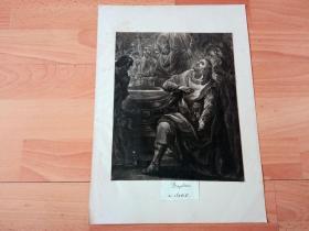 1790年美柔汀铜版画《克洛维一世的洗礼》(Baptême de Clovis)-- 克洛维一世(公元466-511),法兰克王国奠基人、国王;公元486年克洛维打败罗马帝国在高卢的最后一任总督西格里乌斯,被认为是法兰克王国的开国之日;克洛维一世放弃了日耳曼人所信奉的阿里乌教派,转而皈依天主教,这对法国和西欧历史上产生了极重要影响 -- 后附卡纸37*26厘米,版画纸张25*21厘米