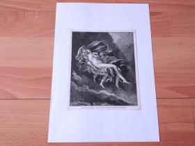 19世纪木刻版画《历代大师笔下的女性人体艺术:西风之神泽菲罗斯劫持塞姬》(ZEPHYRUS CARRING AWAY PSYCHE)-- 出自著名法国画家,皮埃尔-保罗·普吕东(Pierre-Paul Prud'hon,1758–1823)油画,藏于美国诺顿·西蒙博物馆 -- 描绘塞姬被维纳斯扔下山崖后,泽菲罗斯将昏迷的少女接到丘比特准备的秘密宫殿 -- 后附卡纸30*21厘米,版画17*15厘米