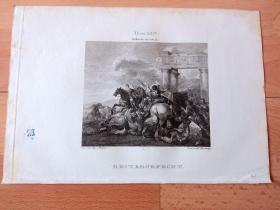 1821年铜版画《骑士的荣耀》(REITERGEFECHT) -- 出自17世纪荷兰黄金时代战场题材画家,Herman van Lin(1600-1655)的油画作品 -- 维也纳美景宫画廊出版 -- 版画纸张26*18厘米