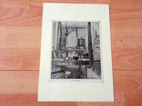19世纪木刻版画《英国维多利亚时代的建筑装饰:英国温莎城堡的国王大客厅》(View in Drawing-room)-- 后附卡纸30*21厘米,版画纸张19*15.5厘米
