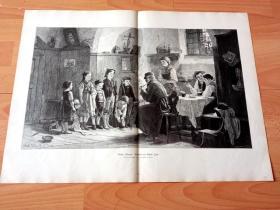 1884年超大木刻版画《童真童趣》(Onkels Rekruten)-- 出自19世纪匈牙利画家,古斯塔夫·伊格莱尔(Gustav Igler,1842-1908)的油画作品 -- 版画纸张57*42厘米