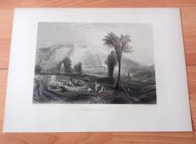 """【透纳】1880年钢版画《风景画:莱茵河畔的埃伦布赖特施泰因》(EHRENBREITSTEIN)-- 出自英国风景画家,威廉·透纳(William Turner)作于19世纪中期的油画,是透纳少数私人收藏的重要杰作,2017年苏富比拍卖行曾拍出¥1.4亿天价 -- 画作描绘莱茵河畔""""德意志之角""""军事古堡:埃伦布赖特施泰因的夕阳美景,建于公元1000年左右-- 透纳画廊 -- 版画36*27厘米"""