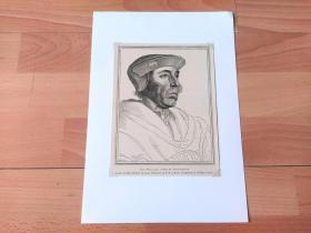 1884年木刻版画《小汉斯·荷尔拜因作品选集:南安普顿伯爵,菲茨·威廉姆斯肖像》(FITZ WILLIAMS,COMTE DE SOUTHAPTOM)-- 出自欧洲北方文艺复兴时代的代表画家,小汉斯·荷尔拜因(Hans Holbein,约1497-1543)的油画作品,藏于英国温莎城堡 -- 后附卡纸30*21厘米,版画纸张19*14.5厘米