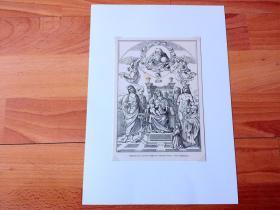 19世纪木刻版画《文艺复兴早期名画:母子登基》(Altartafel der Familie Buffi)-- 出自文艺复兴时期意大利乌尔宾诺大公宫廷画家、文艺复兴三杰之一拉斐尔的父亲和启蒙老师,万尼·桑蒂(Giovanni Santi,1435–1494)的油画 -- 后附卡纸30*21厘米,版画18.5*13厘米