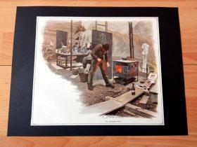 19世纪套色木刻版画《冬日里的艺术家》(Am warmenden Ofen)-- 后附卡纸32*25厘米,版画纸张24*21厘米