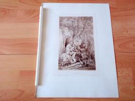 1884年铜凹版腐蚀《吉诺维瓦林中隐居》(GENOVEVA)-- 出自著名德国画家、插图画家和版画家,路德维希·里克特(Ludwig Richter)作于1850年的绘画作品 -- 《吉诺维瓦》以13世纪被冠通奸罪处死的巴伐利亚公爵夫人为原型,女主人吉诺维瓦将被处死之际被聋哑男孩救下,带着小男孩一起到林中隐居,最终男主人发现仆从阴谋真相大白 -- 维也纳艺术画廊出版 -- 版画纸张39*29厘米