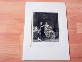 1860年钢版画《温馨之家》(Hausliche Scene,Domestic Scene)-- 出自17世纪荷兰黄金时代著名肖像画家,皮尔特·科尼利兹·范斯林格兰(Pieter Cornelisz van Slingelandt,1640-1691)的油画作品 -- 雕刻师:W.French -- 卡纸画框34*25厘米,版画纸张28*20.5厘米