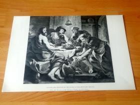 1892年铜凹版腐蚀《费莱蒙和鲍西丝热情款待下凡的主神宙斯和赫密士》(PHILEMON UND BAUCIS) -- 出自17世纪佛兰德画家,雅各布·乔登斯(Jacob Jordaens)油画 -- 取材古罗马诗人奥维德著作《变形记》,老夫妇鲍西丝和费莱蒙,以简单而所剩无几的菜肴和酒款待神宙斯与其子赫密士两位神祇 -- 选自传奇史诗《特洛伊战争》-- 维也纳艺术画廊出版 -- 版画42*28厘米