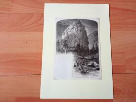 19世纪木刻版画《风景画:科罗拉多大峡谷的圆顶礁,美国犹他州卡农市》(Dome Rock,Middle Bowlden Canon)-- 圆顶礁位于美国犹他州中部,这里的主要地形特征是河谷皱折,5600万年前的地壳运动升高了科罗拉多板块,圆顶礁位于这个板块断裂带上;两块巨大的孤石伫立于路旁的红崖之上,犹如一对孪生兄弟,在此等候父母的归来 -- 后附卡纸30*21厘米,版画纸张19.5*14.5厘米