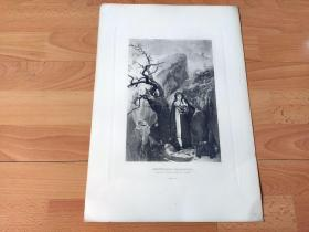 1884年照相凹版《爱的约定》(MONTENEGRIN RENDEZVOUS)-- 出自19世纪捷克画家,雅罗斯拉夫·塞尔马克(Jaroslav Cermak,1830–1878)作于1865年的油画 -- 画作描绘一位喀尔巴阡山的少女正在悬崖边等候情人的场景 -- 美国Gebbie艺术公司出版 -- 版画纸张43*30厘米