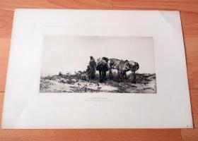 1884年照相凹版《狩猎派对》(A HUNTING PARTY)-- 出自19世纪波兰画家,约瑟夫·冯·勃兰特(Josef von Brandt,1841–1915)的油画作品 -- 美国Gebbie艺术公司出版 -- 版画纸张43*30厘米