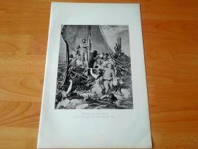 1892年铜凹版腐蚀《塞壬的诱惑》(ULYSSES AND THE SIRENS)-- 出自法国画家,利昂·奥古斯特·阿道夫·贝利(Leon belly,1827-1877)作于1867年的油画 -- 特洛伊战争的英雄尤利西斯曾路过塞壬女妖居住的海岛,尤利西斯嘱咐同伴们用腊封住耳朵,免得他们被女妖的歌声所诱惑 -- 选自《特洛伊战争》-- 维也纳艺术画廊出版 -- 版画纸张42*28厘米