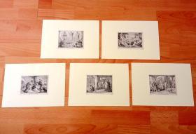 19世纪木刻版画五幅合拍《人类史诗:经典场景3》(Die Berklarung Christi;Die wunderbare Speirsung des Elias)-- 传说中的神迹与魔鬼试探、乞丐拉撒路等 -- 后附卡纸30*21厘米,每幅版画纸张13.5*10.5厘米