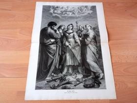 """【拉斐尔名画】1884年超大木刻版画《圣塞西莉亚与圣徒》(Die Heilige Cacilia)-- 出自文艺复兴三杰之一,拉斐尔(Raffaello Santi)于1516年为为波隆那大教堂绘制的""""圣女""""肖像画 -- 圣塞西莉亚是西方历史上第一个肉身被保存的圣人,被尊崇的音乐保护神;画中手持乐器的塞西莉亚,仰首倾听天使们和声的圣乐,引领少女向往更美好的理想升华 -- 版画纸张57.5*42厘米"""