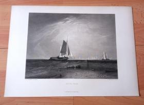 【透纳】1880年钢版画《布莱斯沙滩捕鱼,潮汐开始》(BLIGH SAND)-- 出自西方艺术史最杰出的风景画家,威廉·透纳(William Turner)作于1809年的油画,藏于英国泰特美术馆 -- 该油画描绘了位于希尔内斯的布莱斯沙滩景色和海中的帆船,布莱斯沙滩位于英国东南部艾塞克斯郡的希尔内斯港(Sheerness),面朝肯伟岛(坎维岛) -- 选自透纳画廊 -- 版画36*27厘米