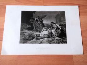 1892年铜凹版腐蚀《罗波那之死》(THE DEATH OF RAVANA)-- 出自著名法国历史题材画家,Fernand Cormon(1845–1924)作于1857年的油画 -- 取材印度史诗《罗摩衍那》,罗波那是楞伽(罗刹之都)的罗刹娑之王,因好女色而拐走悉多;悉多的丈夫罗摩因此前往楞伽岛(今斯里兰卡)将罗波那杀死并救回妻子 -- 选自传奇史诗《特洛伊战争》-- 版画纸张42*28厘米