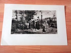 1892年铜凹版腐蚀《神与人的沟通:牺牲与献祭》(SACRIFICE OF THE PUPPETS)-- 出自19世纪法国画家,卢克·奥利维尔·梅尔索(Luc-Olivier Mersoet,1846–1920)的油画作品 -- 选自传奇史诗《特洛伊战争》-- 维也纳艺术画廊出版发行 -- 版画纸张42*28厘米