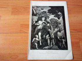 【世界名画】1892年铜凹版腐蚀《马尔斯与爱神维纳斯》(MARS AND VENUS)-- 出自文艺复兴时期威尼斯画派艺术大师,保罗·委罗内塞(Paul Veronese)作于1578年的油画,藏于纽约大都会博物馆 -- 画作描绘了马尔斯与维纳斯的爱情,也是一幅宣扬现世享乐生活的典范之作;画家在此刻意描绘了生活中的欢乐与享受 -- 选自传奇史诗《特洛伊战争》-- 版画纸张42*28厘米