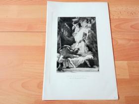 1892年铜凹版腐蚀《俄瑞斯忒斯的复仇》(ORESTES PURSUED BY THE FURIES)-- 出自法国画家,Fernand Lematte(1850–1929)油画 -- 俄瑞斯忒斯是希腊神话中,古希腊远征特洛伊统帅阿伽门农的儿子,俄瑞斯忒斯长大后替父报仇,杀掉克吕泰涅斯特拉和埃吉斯托斯,成为一代英雄 -- 选自传奇史诗《特洛伊战争》-- 维也纳艺术画廊出版 -- 版画42*28厘米